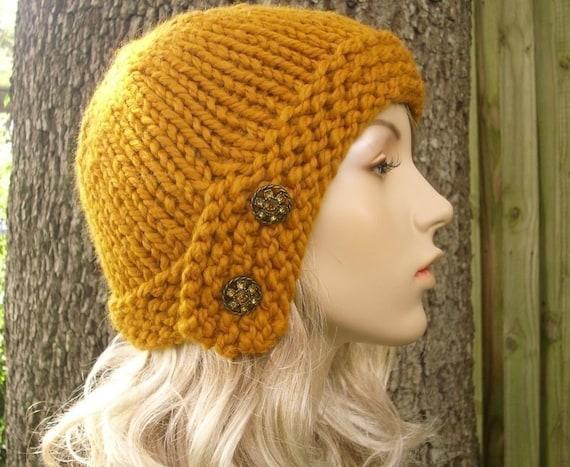Knit Hat Womens Hat Knit Beanie - Mustard Cloche Hat Mustard Yellow Knit Hat - Mustard Hat Mustard Beanie Womens Accessories Winter Hat