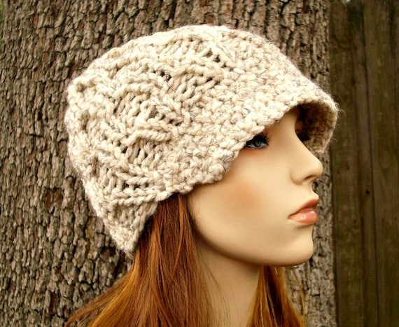 Knit Hat Womens Hat Wheat Cream Newsboy Hat - Amsterdam Beanie with Visor Wheat Cream Knit Hat - Cream Hat Cream Beanie Womens Accessories