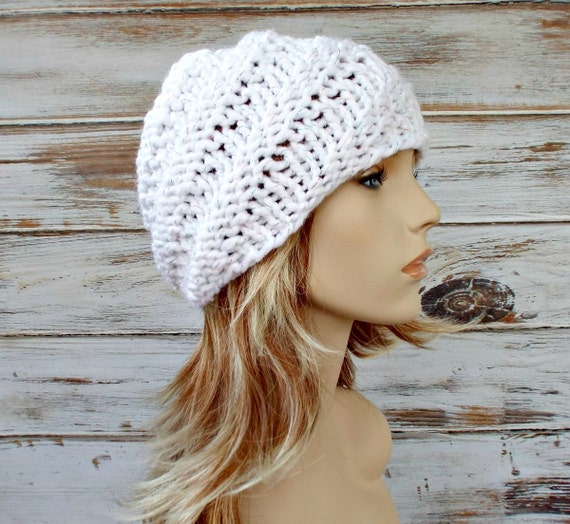 Knit Hat Womens Hat - Swirl Beanie in Celebration Metallic White Knit Hat White Hat White Beanie Womens Accessories