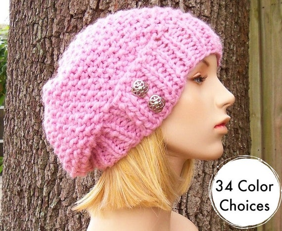Chunky Knit Hat Pink Womens Hat Slouchy Beanie - Seed Beret Hat Blossom Pink Knit Hat - Pink Hat Pink Beret Pink Beanie