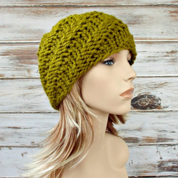 Lemongrass Green Knit Beanie Chunky Knit Hat Green Womens Hat - Swirl Beanie - Green Hat Green Beanie Womens Accessories Winter Hat