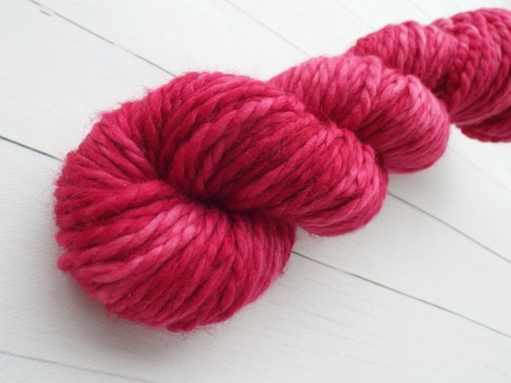 Hand Dyed Yarn 100% Superwash Merino Yarn Bulky Weight Yarn - 109 Yards Tonal Raspberry Pink Yarn