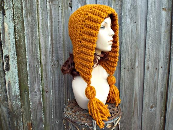 22e49a4f473dcf ... Golden Yellow Butterscotch Womens Hat Crochet Hood Yellow Ear Flap Hat  - Tassel Hat Gold Crochet