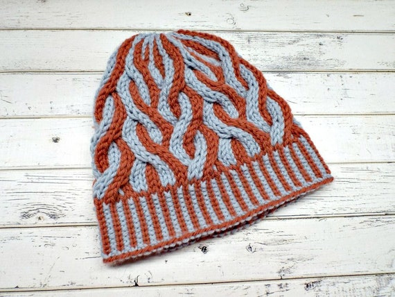 Two Color Cable Beanie Grey and Orange Womens Beanie Mens Beanie  cfd3d887377e