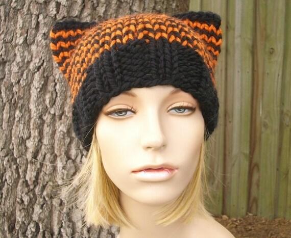 Knit Hat Womens Hat - Cat Beanie Hat in Black and Orange Knit Hat - Black Hat Black Beanie Womens Accessories Winter Hat