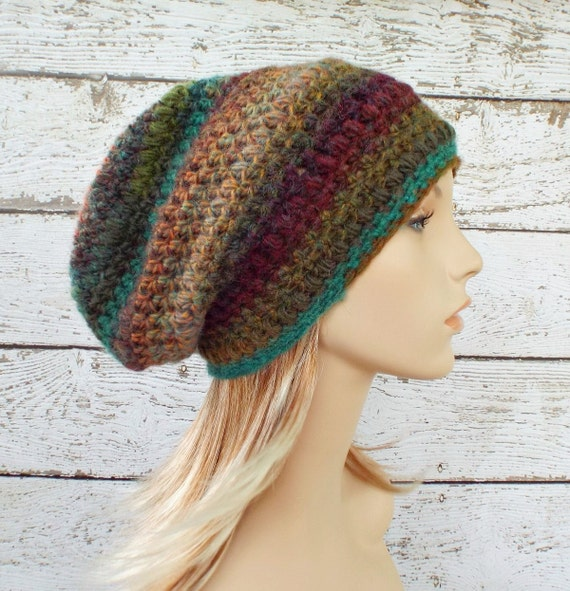 Crochet Hat Womens Hat - Penelope Puff Stitch Slouchy Beanie Hat - Rust Teal Wine Arcadia - Womens Accessories Winter Hat