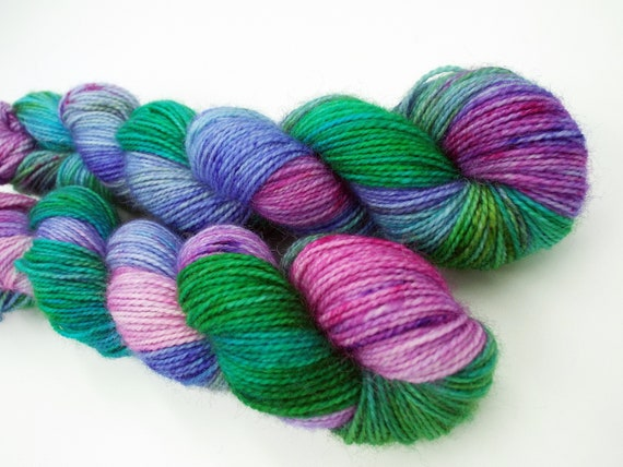 Hand Dyed Sock Yarn Superwash Wool Nylon 80/20 Fingering Weight Yarn Sock Yarn 50 Grams - Variegated Sock Yarn Green Pink Yarn - Wild Rumpus