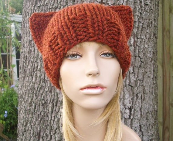 Knit Hat Orange Womens Hat - Cat Beanie Hat in Rust Orange Knit Hat - Orange Hat Orange Beanie Orange Cat Hat Womens Accessories Winter Hat