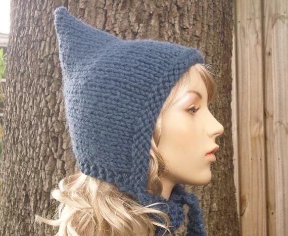 Knit Hat Womens Hat - Pixie Hat in Denim Blue Knit Hat - Womens Accessories Winter Hat