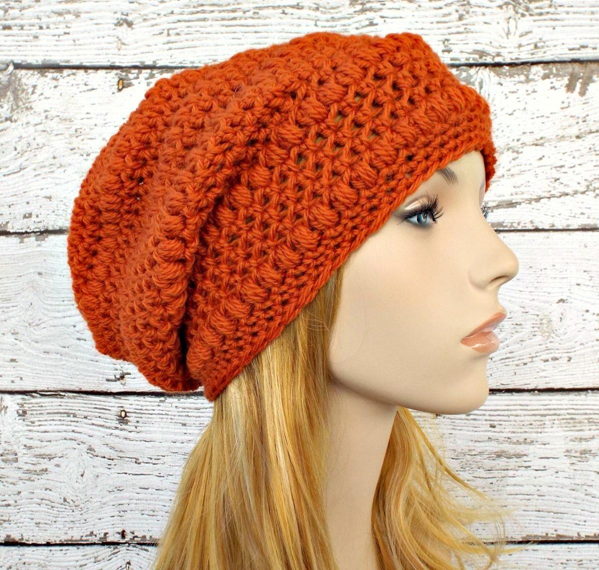 b2ca68a51a1 Orange Womens Hat - Penelope Puff Stitch Slouchy Beanie Pumpkin Orange  Crochet Hat - Orange Hat Womens Accessories Fall Fashion Winter Hat