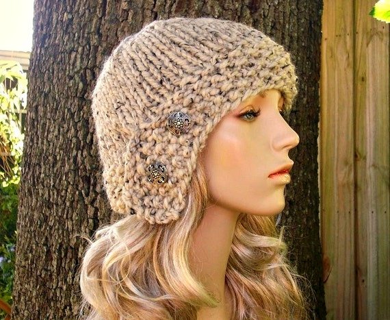 Knit Hat Oatmeal Womens Hat - Oatmeal Cloche Hat Oatmeal Knit Hat - Oatmeal Hat Oatmeal Beanie Womens Accessories Winter Hat