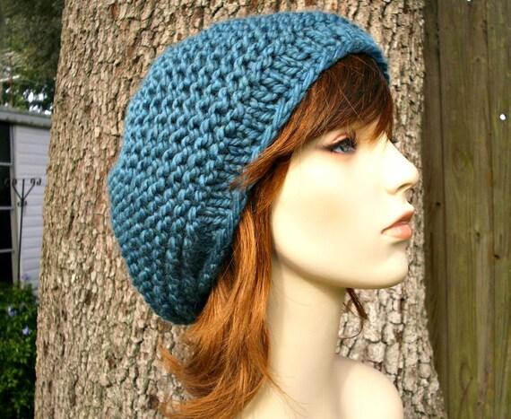 Blue Womens Hat - Tribeca Beret Teal Blue Knit Hat - Blue Hat Blue Beret Teal Hat Teal Beret Womens Accessories Winter Hat