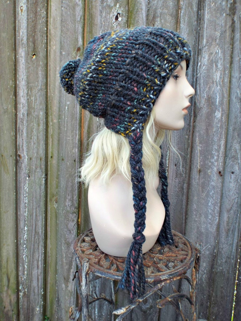 ec0d1d2f98b Chunky Knit Hat Womens Rainbow Grey Slouchy Pom Pom Hat Ear