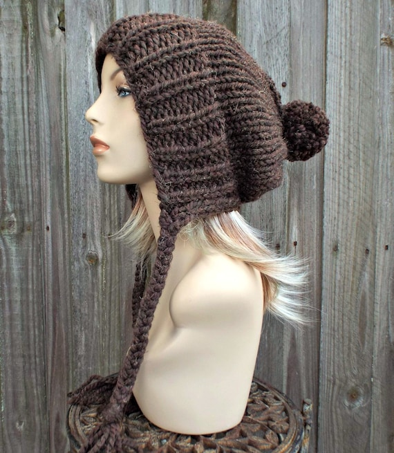 Tweed Wood Brown Slouchy Ear Flap Hat With Pom Pom - Knit Womens Winter Beanie - Charlotte