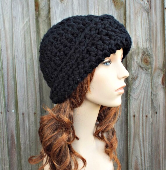 Crochet Hat Black Womens Hat 1920s Flapper Hat - Garbo Cloche Hat Black Crochet Hat - Black Hat Black Beanie Womens Accessories Winter Hat