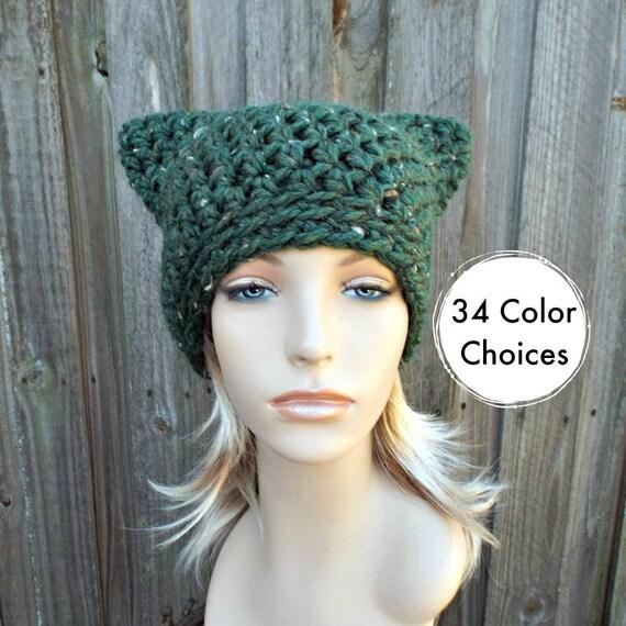 Kale Tweed Green Cat Hat - Crochet Womens Winter Beanie in Kale Green Tweed - Green Pussyhat Green Pussy Hat
