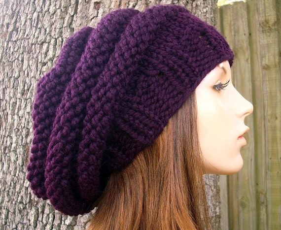 Knit Hat Womens Hat - Oversized Beehive Beret Hat in Eggplant Purple Knit Hat - Purple Hat Purple Beret Purple Beanie Womens Accessories