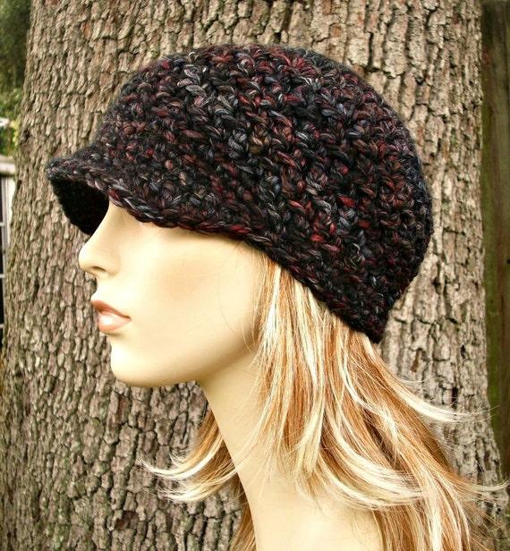 Grey Newsboy Hat Grey Hat Grey Beanie Crochet Hat Womens Hat Black Newsboy Hat - Jockey Cap Blackstone - Womens Accessories