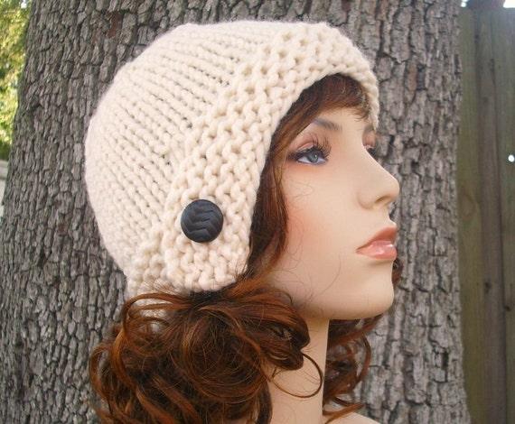 Cream Womens Knit Cloche Hat Beanie - Womens Accessories Fall Fashion Winter Hat