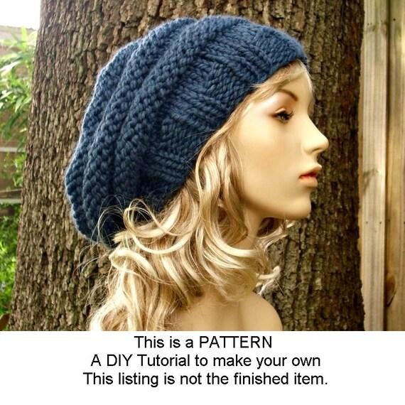 Instant Download Knitting Pattern - Knit Hat Pattern Original and Oversized Beehive Beret Pattern - Womens Hat Pattern - Womens