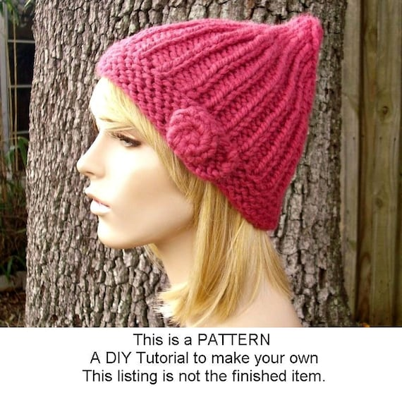 Instant Download Knitting Pattern - Knit Hat Knitting Pattern - Knit Hat Pattern for Quinn Beanie Hat - Womens Hat - Womens Accessories