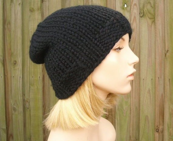 Black Beanie Knit Hat Black Mens Hat Black Womens Hat Black  f28cd71db70