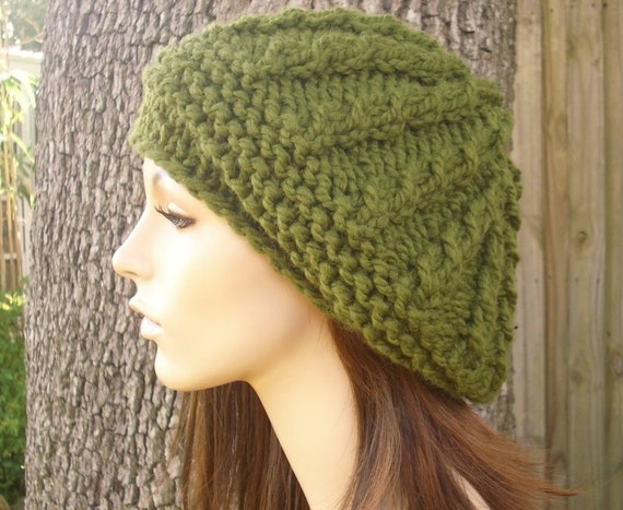 Knit Hat Womens Hat - Big Rasta Thumb Cable Beret Hat in Olive Green Knit Hat - Green Hat Breen Beret Green Beanie Womens Accessories