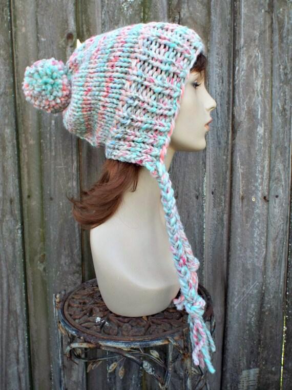 f397bbe9617 Chunky Knit Hat Womens Pastel Rainbow Pom Pom Hat Slouchy