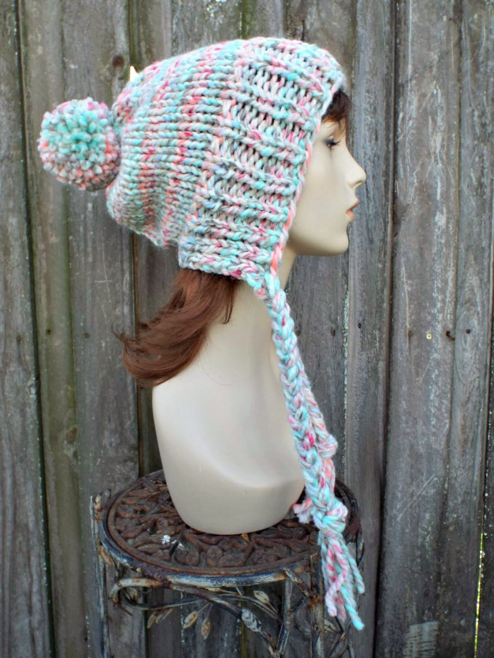 d3c82f5ad65 Chunky Knit Hat Womens Pastel Rainbow Pom Pom Hat - Slouchy Ear Flap Beanie  With Braided Ties Warm Winter Hat - READY TO SHIP