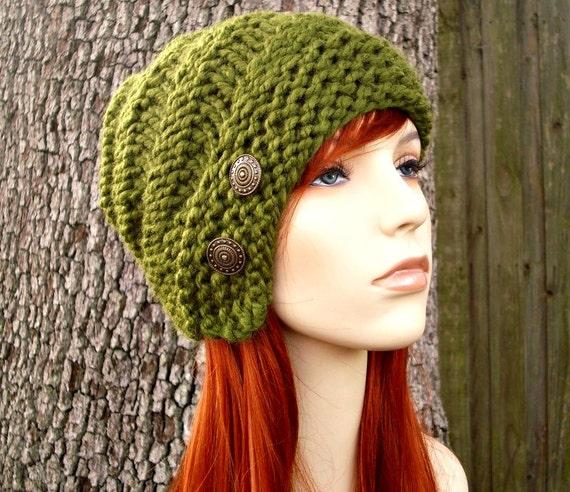 Green Womens Hat - Hybrid Swirl Cloche Hat in Olive Green Knit Hat - Green Hat Green Beanie Green Cloche Womens Accessories Winter Hat