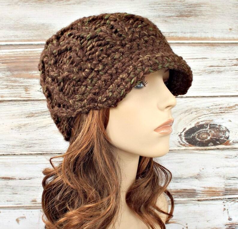 16b77f83015038 Knit Hat Womens Hat Newsboy Hat Amsterdam Beanie with Visor | Etsy