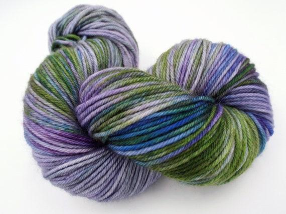 Hand Dyed Yarn 100% Superwash Merino Yarn Worsted Weight Yarn - 220 Yards - Variegated Purple Yarn Green Yarn Blue Yarn - Scottish Thistle