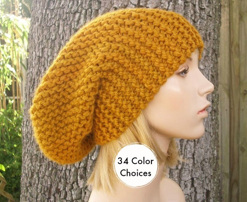 799497099bc Knit Hat Womens Slouchy Oversized Beanie in Mustard Yellow