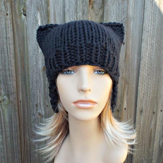 Smoky Black Pussyhat Black Cat Hat Womens Hat - Black Ear Flap Cat Hat - Black Hat Black Beanie Black Pussy Hat Winter Hat 100% Merino Wool
