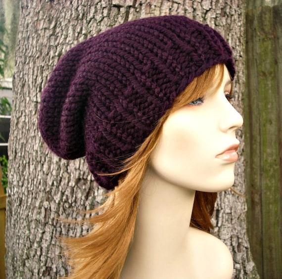 Knit Hat Womens Hat Slouchy Beanie Slouchy Hat - Toque Beanie Hat in Eggplant Purple Knit Hat - Womens Winter Hat