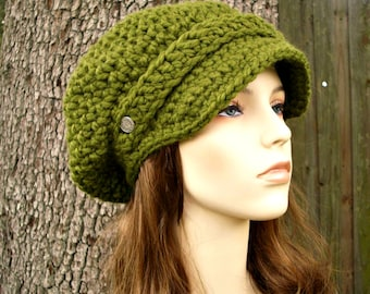 Crochet Hat Green Womens Hat Green Newsboy Hat - Crochet Newsboy Hat in Olive Green Crochet Hat - Green Hat Green Beanie Womens Accessories