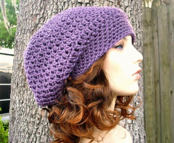 Womens Hat Slouchy Beanie - Weekender Slouchy Hat in Dusty Purple Crochet Hat - Purple Hat Purple Beanie Womens Accessories Winter Hat