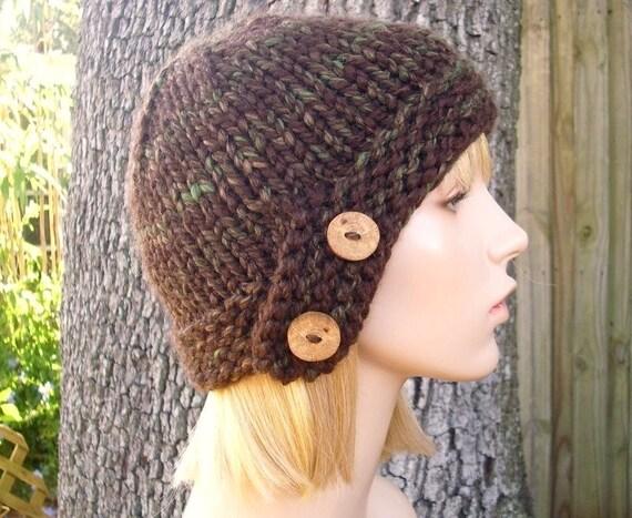 Knit Hat Brown Womens Hat - Cloche Hat in Mesquite Mixed Brown Knit Hat - Brown Hat Brown Beanie Brown Cloche Womens Accessories Winter Hat