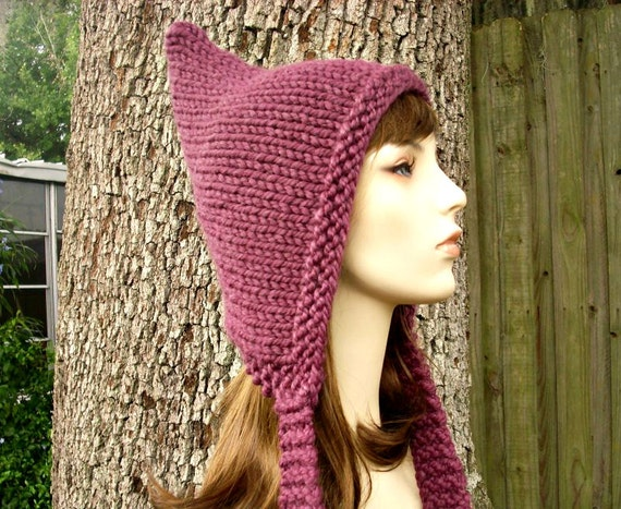 Knit Hat Womens Hat - Purple Pixie Hat in Fig Purple Knit Hat - Purple Hat Purple Ear Flap Hat Womens Accessories Winter Hat