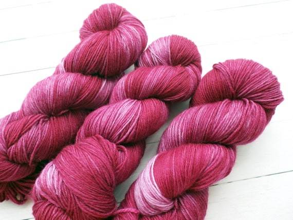 Hand Dyed Yarn Hand Dyed Sock Yarn Superwash Merino Nylon Blend 80/20 Fingering Weight Yarn - Tonal Yarn Pink Burgundy Yarn - Crushed Velvet