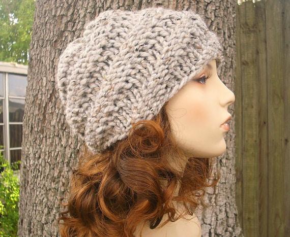 Knit Hat Grey Womens Hat Grey Mens Hat - Swirl Beanie in Tweed Grey Knit Hat - Grey Hat Grey Beanie Womens Accessories Winter Hat