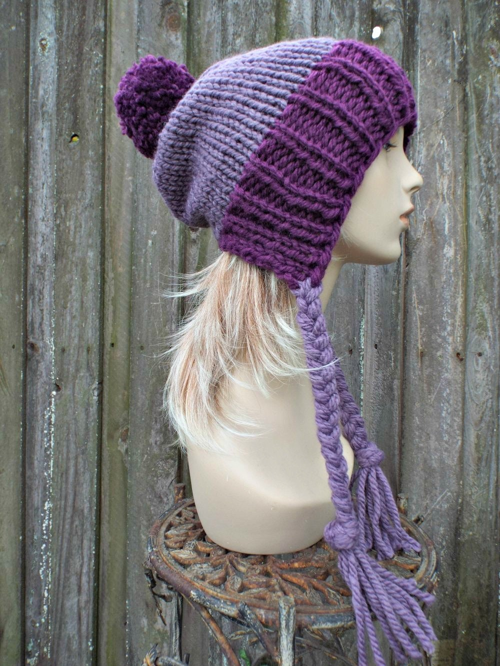 893fb8493f0 Chunky Knit Hat Womens Purple Pom Pom Hat - Slouchy Ear Flap Beanie With  Braided Ties Warm Winter Hat - Charlotte - READY TO SHIP