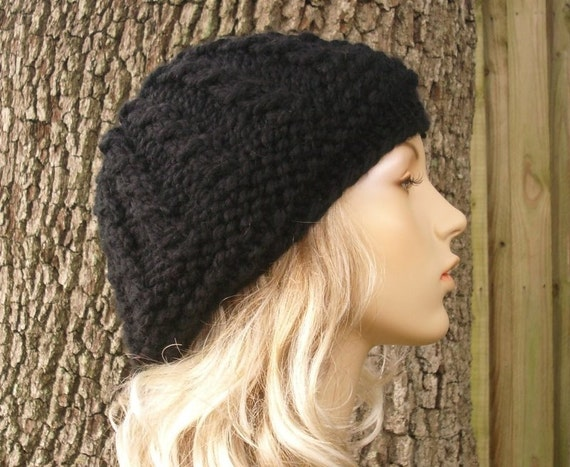 Womens Hat - Chunky Thumb Cable Beret Black Knit Hat - Black Hat Black Beanie Black Beret Womens Knit Accessories