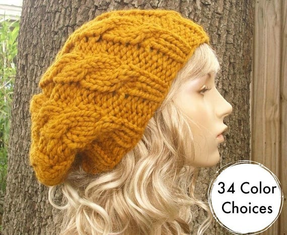 Knit Hat Womens Hat Slouchy Beanie - Butterscotch Cable Beret Yellow Knit Accessories - Butterscotch Hat Yellow Beret