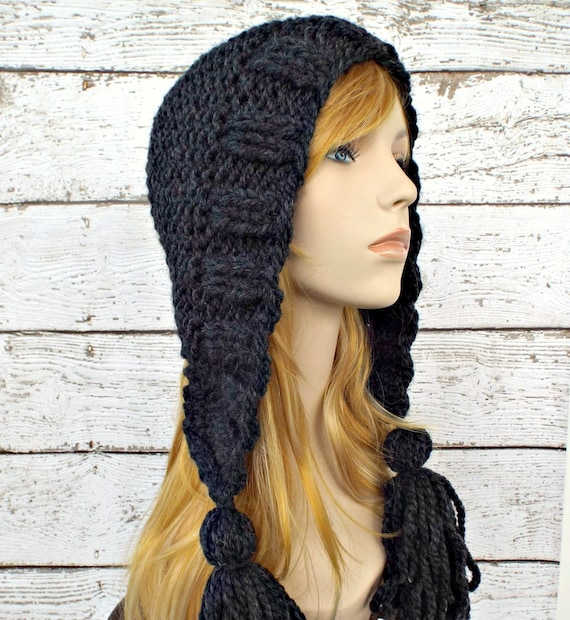 Knit Hat Womens Hat Knit Hood Ear Flap Hat - Tassel Hat in Charcoal Grey Knit Hat - Grey Hat Womens Accessories Winter Hat