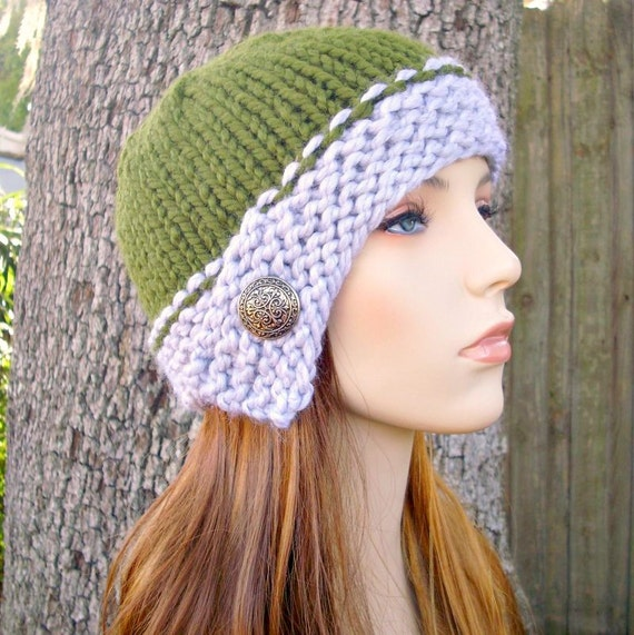 Knit Hat Womens Hat - Cloche Hat in Heather Grey and Olive Green Knit Hat - Green Hat Grey Hat Grey Beanie Womens Accessories Winter Hat