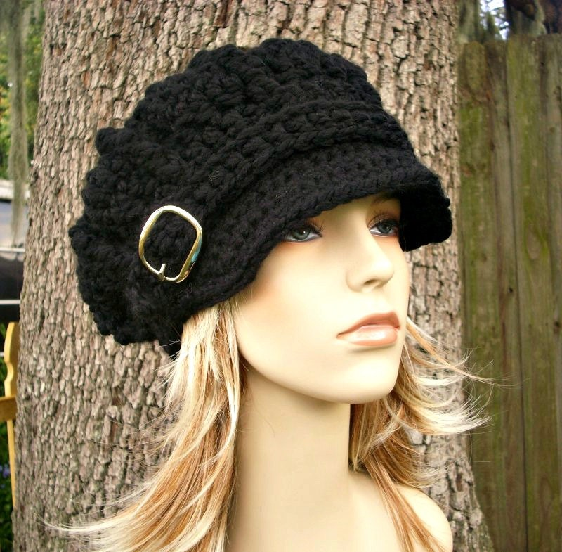 Crochet Hat Womens Hat Black Hat Black Newsboy Hat Oversized  edbc35ac8c1
