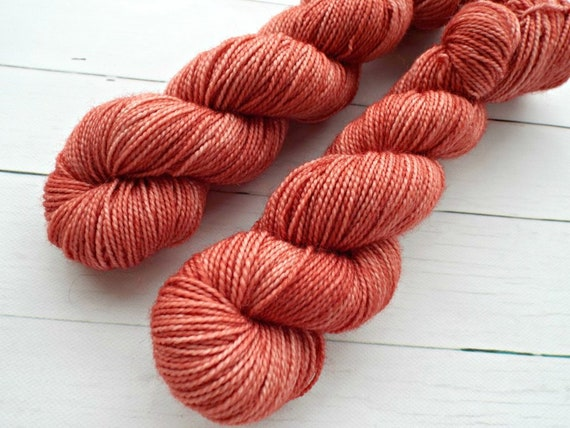 Hand Dyed Sock Yarn Superwash Wool Nylon 80/20 Fingering Weight Yarn - 50 Grams - Tonal Sock Yarn Terracotta Yarn Clay Yarn Coral Yarn