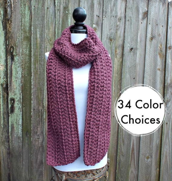 Womens Oversized Crochet Chunky Scarf - New Englander Fig Purple Scarf - Womens Accessories Fall Fashion Winter Scarf - 34 Color Choices