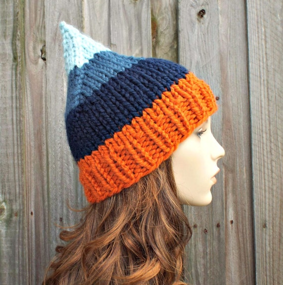 Orange and Blue Gnome Beanie Knit Hat Womens Hat- Womens Accessories Fall Fashion Winter Hat